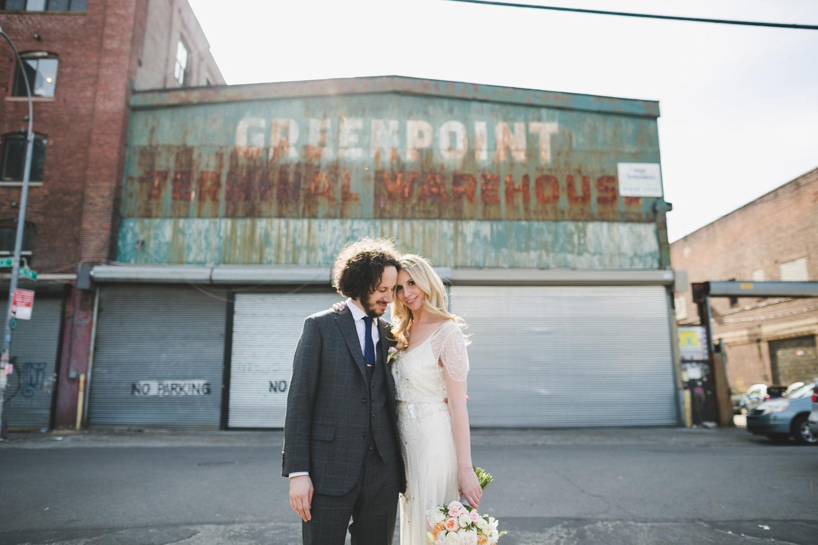 greenpoint brooklyn wedding photo, vintage sign, urban wedding photos